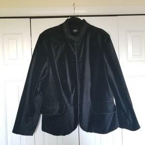 Military style velvet jacket.